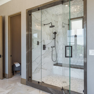 Tuscan white tile white floor alcove shower photo in San Francisco with gray walls and a hinged shower door