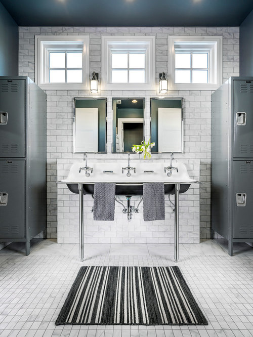 Inspiration For A Mid Sized Transitional Kidsu0027 Subway Tile And White Tile  White Floor