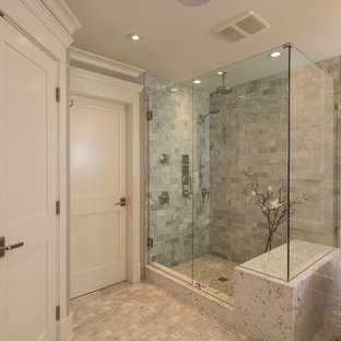 Example of a mid-sized classic master gray tile and porcelain tile porcelain floor bathroom design in Vancouver with an undermount sink and white walls