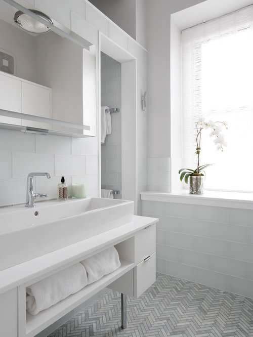 Example Of A Large Transitional Master White Tile And Glass Tile Gray Floor  And Ceramic Floor