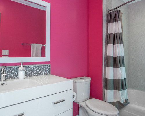 Pink bathroom and cloakroom design ideas renovations for Pink and orange bathroom ideas
