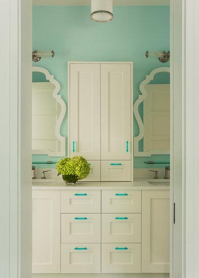 Transitional Bathroom by Wellen Construction