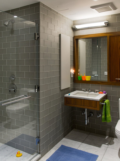 Gray Subway Tile Wall Houzz