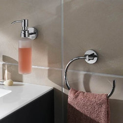 No drill Bath Towel Ring - no drilling required towel rings from nie wieder bohren Germany. Elegant bath accessories which mount directly to you premium bath surfaces without drilling and even over grout lines. System utilizes a commercial adhesive for a secure bond and can be easily removed with no damage if needed. Simple, Safe, Secure