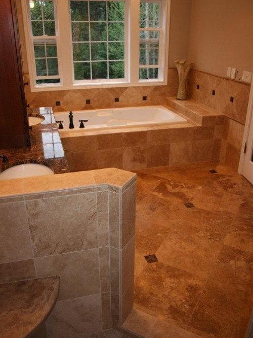 Noce And Cafe Light Travertine Tile Bathroom Remodel
