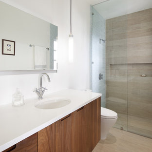 Walk-in shower - contemporary master walk-in shower idea in San Francisco with flat-panel cabinets, medium tone wood cabinets and white walls
