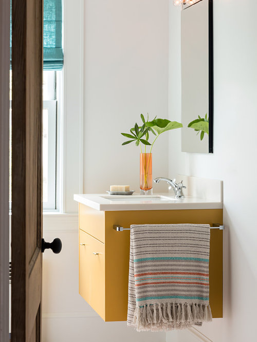 Bathroom design ideas renovations photos with yellow - Red and yellow bathroom ideas ...