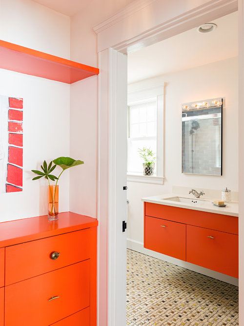 orange bathroom cabinet 4 boston bathroom and cloakroom with orange cabinets 24076