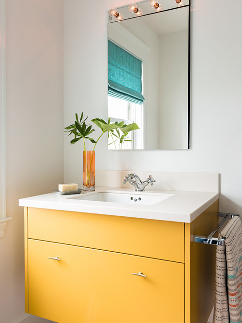 Contemporary Bathroom Design Ideas Renovations Photos With Yellow Cabinets