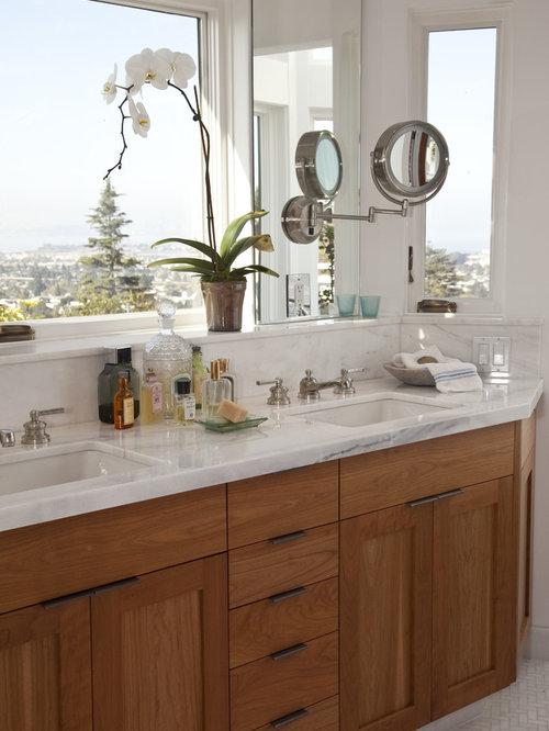 elegant mosaic tile bathroom photo in san francisco with marble countertops