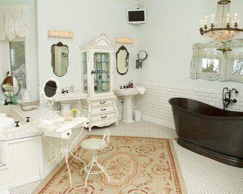 Shabby chic style badezimmer mit keramikfliesen ideen design