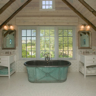 Inspiration for a farmhouse master white tile and subway tile freestanding bathtub remodel in New York with an undermount sink, flat-panel cabinets and white cabinets