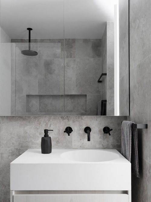 Example Of A Trendy Bathroom Design In Melbourne With Flat Panel Cabinets,  Light Wood