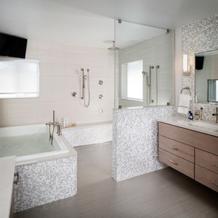 Example of a large trendy master multicolored tile and glass tile porcelain floor and gray floor bathroom design in Miami with flat-panel cabinets, gray cabinets, gray walls, an undermount sink and engineered quartz countertops