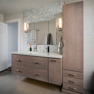 Bathroom - mid-sized contemporary master multicolored tile and glass tile porcelain floor and gray floor bathroom idea in Miami with flat-panel cabinets, gray cabinets, gray walls, an undermount sink and engineered quartz countertops