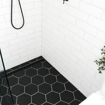 North Perth Bathroom Renovation - Black Hexagon