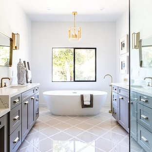 Freestanding Bathtub Cottage Master White Floor Idea In Los Angeles With Shaker Cabinets