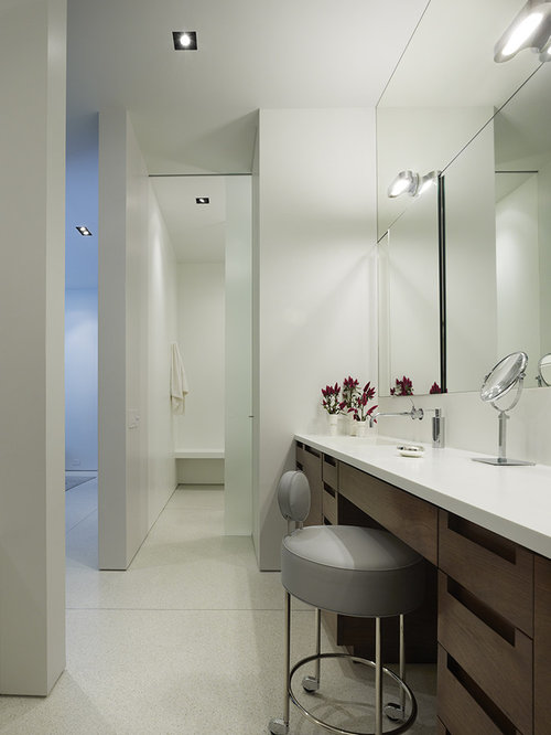 double vanity with makeup counter. Trendy bathroom photo in Chicago with an integrated sink  flat panel cabinets and dark Dual Vanity With Makeup Counter Houzz