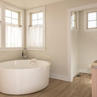 999+ beautiful coastal bathroom with brown cabinets