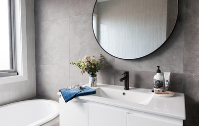 Room of the Week: A Small, Modern Bathroom in Charcoal and White