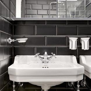 Ispirazione per una piccola stanza da bagno padronale vittoriana con ante di vetro, ante nere, doccia aperta, piastrelle nere, piastrelle diamantate, pareti bianche, pavimento in cementine, lavabo a consolle, pavimento multicolore, porta doccia scorrevole e top bianco