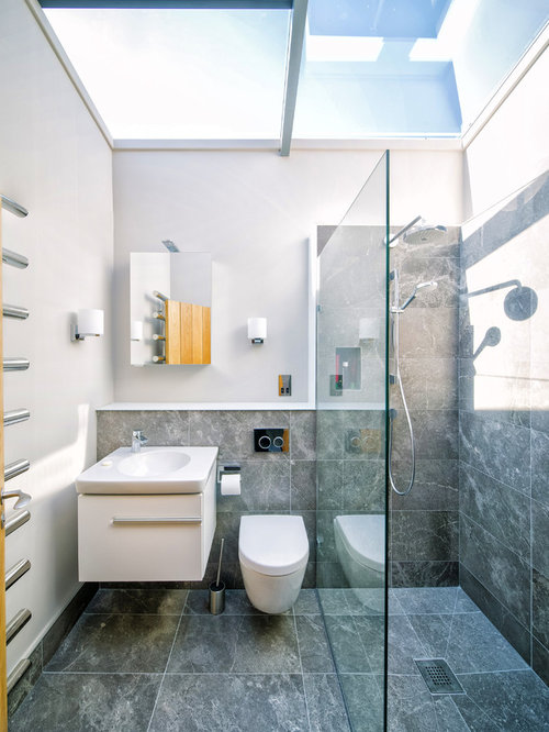 Small Contemporary Shower Room In Other With White Cabinets, Grey Tiles,  Ceramic Flooring, Part 63
