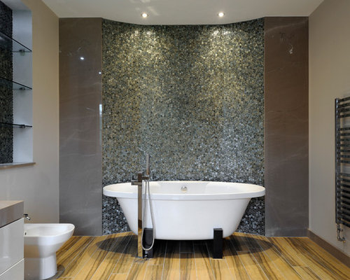 New   Renovations Amp Photos With Glass Worktops And Multicoloured Tiles