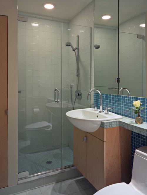 Trendy bathroom photo in New York - Narrow Depth Vanity Houzz