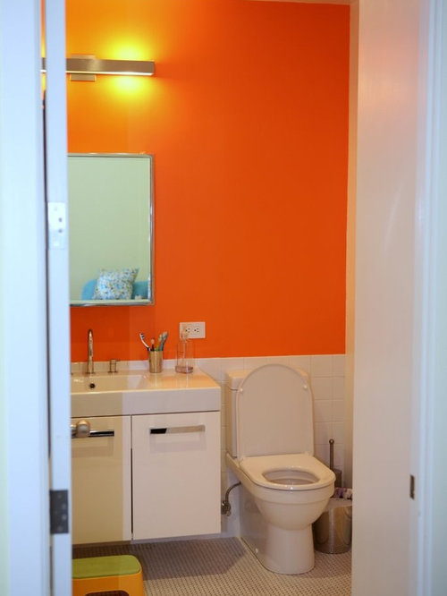 Orange bathroom houzz for Bathroom ideas orange