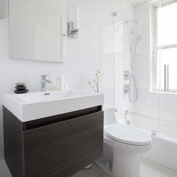 NYC Modern White Bathroom and Kitchen Renovation