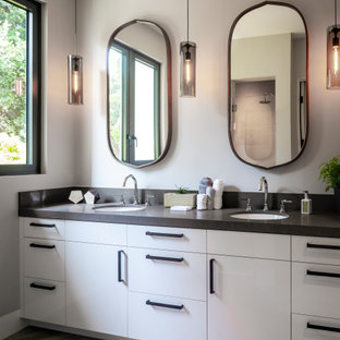 Large trendy master marble floor, gray floor and double-sink bathroom photo in San Francisco with flat-panel cabinets, white cabinets, an undermount sink, quartz countertops, a built-in vanity, gray walls and gray countertops