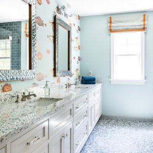 Mid-sized coastal kids' mosaic tile floor and blue floor bathroom photo in Los Angeles with white cabinets, beaded inset cabinets, multicolored walls and an undermount sink