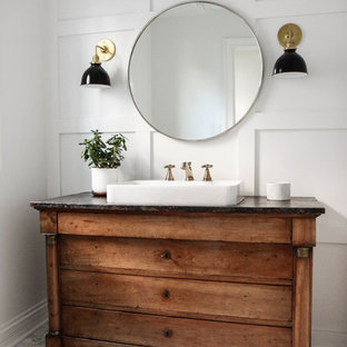 Inspiration for a mid-sized country 3/4 bathroom in Chicago with furniture-like cabinets, medium wood cabinets, white walls, marble floors, a vessel sink and grey floor.