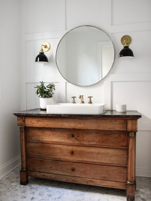 inspiration for a mid sized farmhouse 34 marble floor and gray floor bathroom - Farmhouse Bathroom Ideas