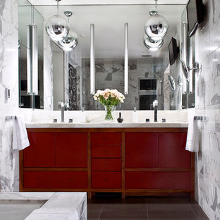 Example of a trendy white tile bathroom design in San Francisco with flat-panel cabinets and red cabinets