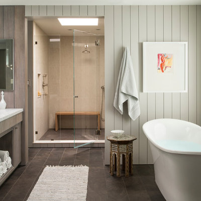 Bathroom - large transitional beige tile brown floor bathroom idea in San Francisco with an undermount sink, flat-panel cabinets, dark wood cabinets and white walls