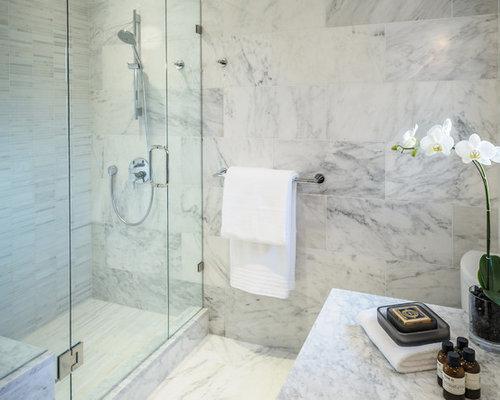 White carrara porcelain tile houzz - Marble look bathroom floor tiles ...