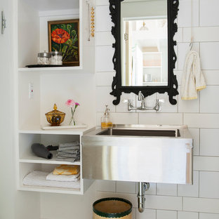 Bathroom - eclectic white tile cement tile floor and multicolored floor bathroom idea in Nashville with a wall-mount sink