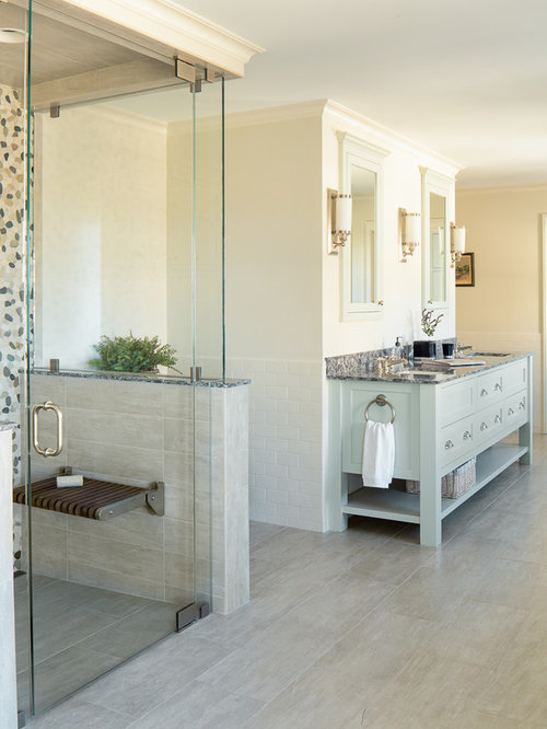 Walk In Shower   Transitional Master Multicolored Tile Porcelain Floor  Walk In Shower Idea