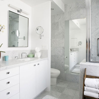 Example of a trendy bathroom design in Los Angeles with an undermount sink