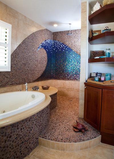 Coastal Bathroom by Marrokal Design & Remodeling