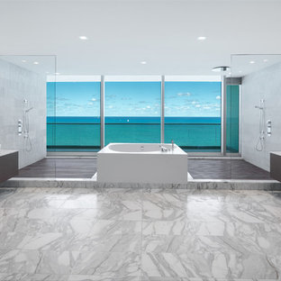 Example of a huge minimalist master white tile and marble tile marble floor and white floor bathroom design in Miami with dark wood cabinets, white walls, a vessel sink, marble countertops and white countertops