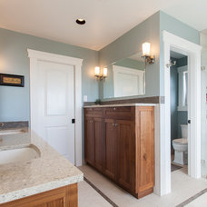 Transitional Bathroom by Kenorah Design + Build Ltd.