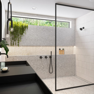 Mid-sized minimalist master gray tile and porcelain tile porcelain tile, gray floor and double-sink bathroom photo in San Diego with flat-panel cabinets, light wood cabinets, a one-piece toilet, white walls, an integrated sink, quartz countertops, black countertops and a floating vanity