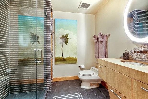 Tropical Bathroom by Laura Martzell Designs, LLC