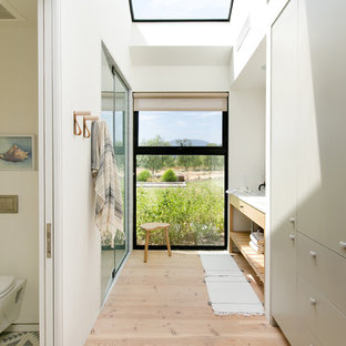 Bathroom - cottage master medium tone wood floor and brown floor bathroom idea in Los Angeles with flat-panel cabinets, gray cabinets, a wall-mount toilet, white walls, an undermount sink, a hinged shower door and white countertops