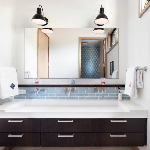 Inspiration For A Large Transitional 3/4 Blue Tile And Subway Tile  Porcelain Floor Bathroom