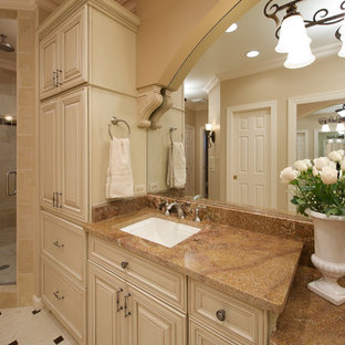 Elegant bathroom photo in DC Metro with raised-panel cabinets, beige cabinets and an undermount sink