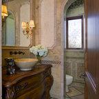 Moroccan Inspired Powder Room Mediterranean Bathroom