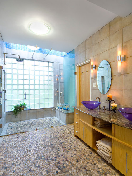 Inspiration For A Modern Beige Tile And Pebble Tile Pebble Tile Floor And  Multicolored Floor Walk